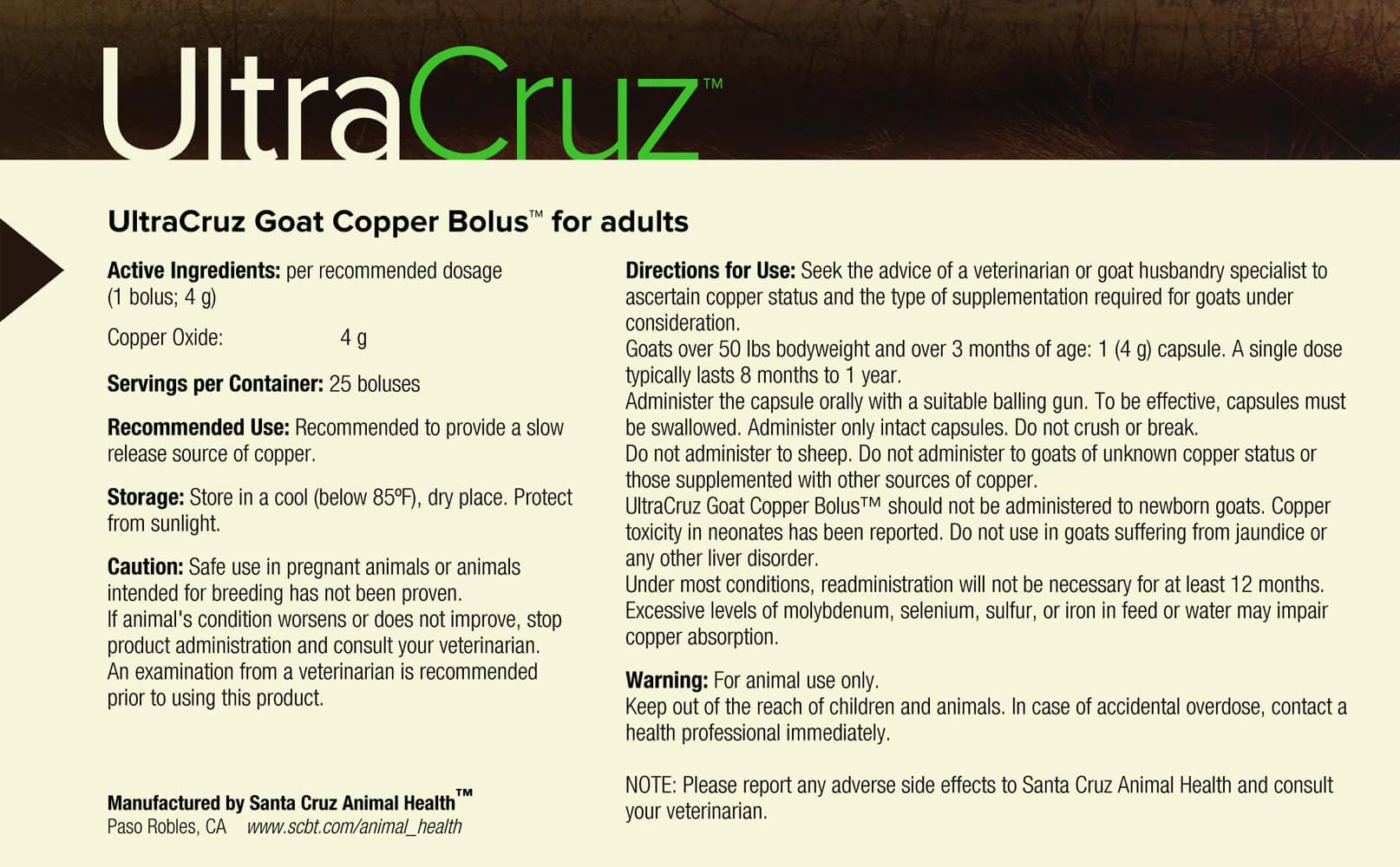 Ultracruz Goat Copper Bolus Supplement For Adult Goats 25 Count 4